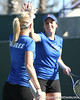 Florida freshman Lauren Embree and senior Anastasia Revzina compete during the Gators' 7-0 win against the South Florida Bulls on Monday, February 8, 2010 at Linder Stadium at Ring Tennis Complex in Gainesville, Fla. / Gator Country photo by Tim Casey