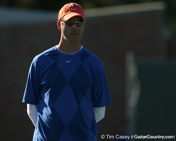 Florida women's tennis coach Roland Thornqvist looks on during the Gators' 7-0 win against the South Florida Bulls on Monday, February 8, 2010 at Linder Stadium at Ring Tennis Complex in Gainesville, Fla. / Gator Country photo by Tim Casey
