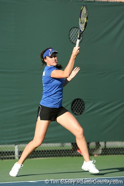 Florida senior Anastasia Revzina competes during the Gators' 7-0 win against the South Florida Bulls on Monday, February 8, 2010 at Linder Stadium at Ring Tennis Complex in Gainesville, Fla. / Gator Country photo by Tim Casey