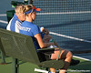 Florida associate head coach Dave Balogh talks with sophomore Claire Bartlett during the Gators' 7-0 win against the South Florida Bulls on Monday, February 8, 2010 at Linder Stadium at Ring Tennis Complex in Gainesville, Fla. / Gator Country photo by Tim Casey
