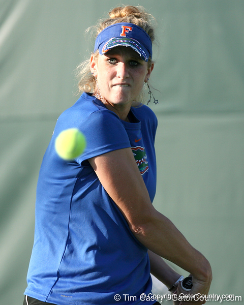 Florida freshman Allie Will competes during the Gators' 7-0 win against the South Florida Bulls on Monday, February 8, 2010 at Linder Stadium at Ring Tennis Complex in Gainesville, Fla. / Gator Country photo by Tim Casey