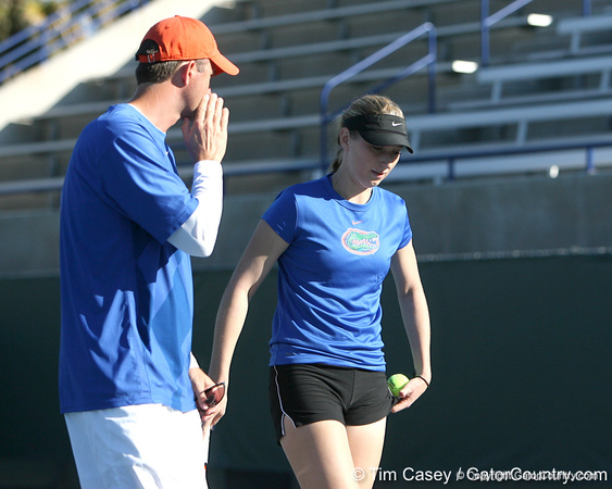 Florida women's tennis coach Roland Thornqvist talks with senior Marrit Boonstra during the Gators' 7-0 win against the South Florida Bulls on Monday, February 8, 2010 at Linder Stadium at Ring Tennis Complex in Gainesville, Fla. / Gator Country photo by Tim Casey