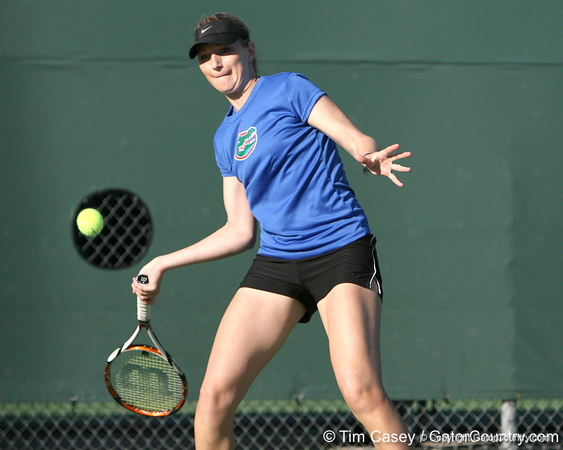 Florida senior Marrit Boonstra competes during the Gators' 7-0 win against the South Florida Bulls on Monday, February 8, 2010 at Linder Stadium at Ring Tennis Complex in Gainesville, Fla. / Gator Country photo by Tim Casey