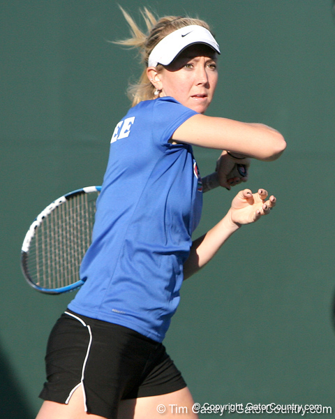 Florida freshman Lauren Embree competes during the Gators' 7-0 win against the South Florida Bulls on Monday, February 8, 2010 at Linder Stadium at Ring Tennis Complex in Gainesville, Fla. / Gator Country photo by Tim Casey