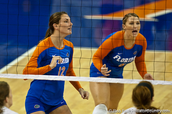 Florida senior Kelly Murphy (12) and sophomore Chanel Brown (5) play defense during the Gators' 3-0 win against Boston College on Friday, August 26, 2011 at the Stephen C. O'Connell Center in Gainesville, Fla. / Gator Country photo by Rob Foldy