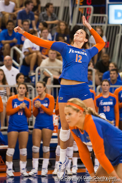 Florida senior Kelly Murphy (12) serves the ball during the Gators' 3-0 win against Boston College on Friday, August 26, 2011 at the Stephen C. O'Connell Center in Gainesville, Fla. / Gator Country photo by Rob Foldy