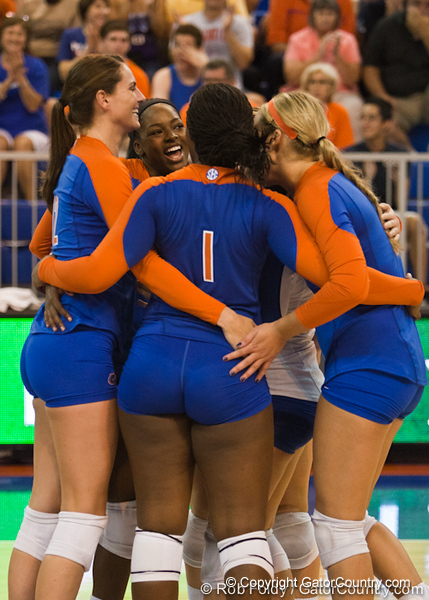 Florida players huddle during the Gators' 3-0 win against Boston College on Friday, August 26, 2011 at the Stephen C. O'Connell Center in Gainesville, Fla. / Gator Country photo by Rob Foldy