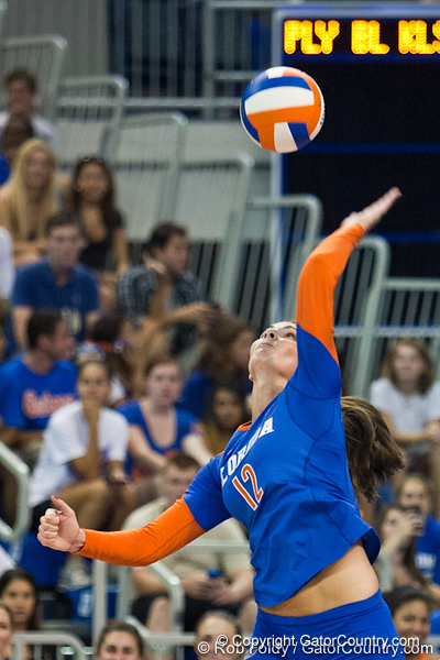 Florida senior Kelly Murphy (12) serves the ball during the first set of the Gators' 3-0 win against Boston College on Friday, August 26, 2011 at the Stephen C. O'Connell Center in Gainesville, Fla. / Gator Country photo by Rob Foldy