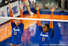 Florida senior Kelly Murphy (12) and senior Cassandra Anderson (21) go up for a block during the Gators' 3-0 win against Boston College on Friday, August 26, 2011 at the Stephen C. O'Connell Center in Gainesville, Fla. / Gator Country photo by Rob Foldy