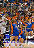 Florida senior Kelly Murphy (12) hits the ball over the net during the Gators' 3-0 win against Boston College on Friday, August 26, 2011 at the Stephen C. O'Connell Center in Gainesville, Fla. / Gator Country photo by Rob Foldy