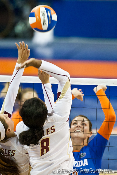 Florida and Boston College players go up for a play at the net during the Gators' 3-0 win against Boston College on Friday, August 26, 2011 at the Stephen C. O'Connell Center in Gainesville, Fla. / Gator Country photo by Rob Foldy
