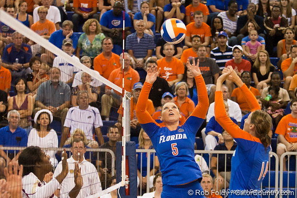 Florida sophomore Chanel Brown (5) sets the ball during the Gators' 3-0 win against Boston College on Friday, August 26, 2011 at the Stephen C. O'Connell Center in Gainesville, Fla. / Gator Country photo by Rob Foldy