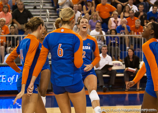 Florida players celebrate during the Gators' 3-0 win against Boston College on Friday, August 26, 2011 at the Stephen C. O'Connell Center in Gainesville, Fla. / Gator Country photo by Rob Foldy