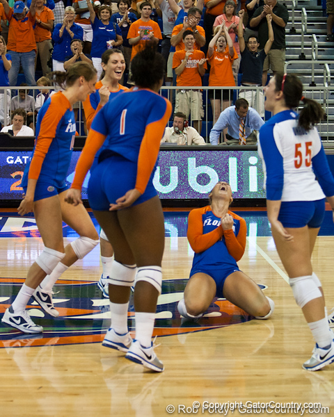 Florida players celebrate after winning the final point during the Gators' 3-0 win against Boston College on Friday, August 26, 2011 at the Stephen C. O'Connell Center in Gainesville, Fla. / Gator Country photo by Rob Foldy