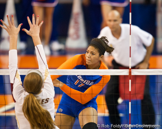 Florida freshman Noami Santos-Lamb hits the ball during the Gators' 3-0 win against Boston College on Friday, August 26, 2011 at the Stephen C. O'Connell Center in Gainesville, Fla. / Gator Country photo by Rob Foldy