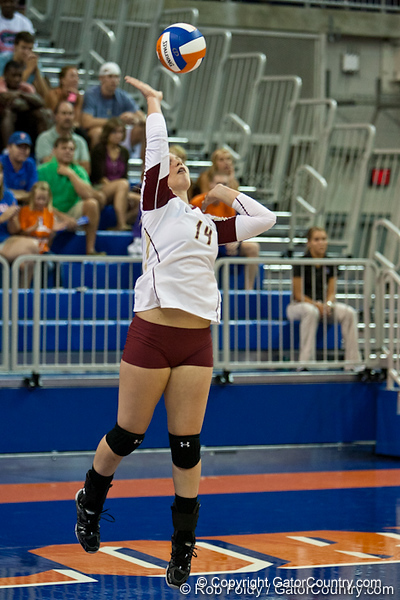 Boston College sophomore Cagla Sen (14) serves the ball during the Gators' 3-0 win against Boston College on Friday, August 26, 2011 at the Stephen C. O'Connell Center in Gainesville, Fla. / Gator Country photo by Rob Foldy