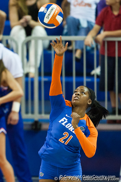 Florida senior Cassandra Anderson (21) serves the ball during the Gators' 3-0 win against Boston College on Friday, August 26, 2011 at the Stephen C. O'Connell Center in Gainesville, Fla. / Gator Country photo by Rob Foldy