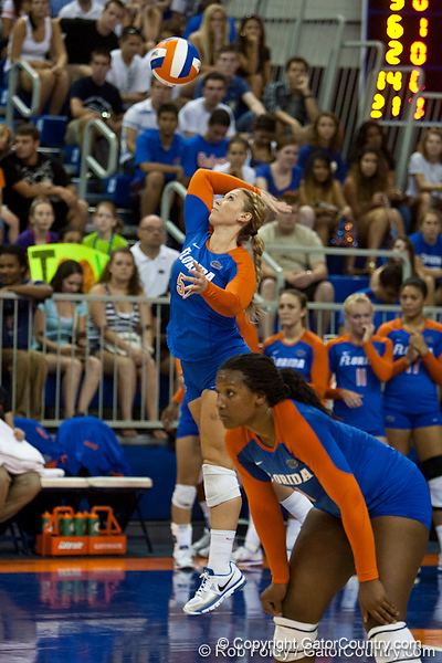 Florida sophomore Chanel Brown (5) serves the ball during the Gators' 3-0 win against Boston College on Friday, August 26, 2011 at the Stephen C. O'Connell Center in Gainesville, Fla. / Gator Country photo by Rob Foldy