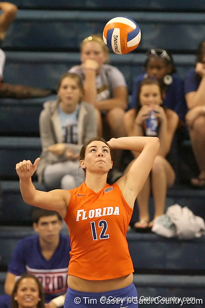 photo by Tim Casey<br /> <br /> Florida freshman setter/right-side hitter Kelly Murphy serves during the Gators' sweep of the South Carolina Gamecock on Wednesday, October 15, 2008 at the Stephen C. O'Connell Center in Gainesville, Fla.