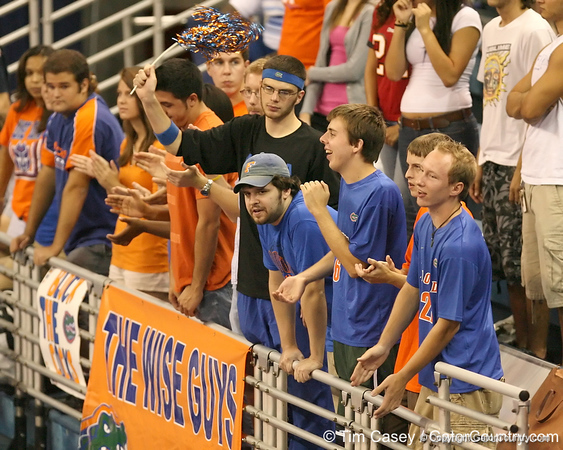 photo by Tim Casey<br /> <br /> Florida fans cheer during the Gators' sweep of the South Carolina Gamecock on Wednesday, October 15, 2008 at the Stephen C. O'Connell Center in Gainesville, Fla.