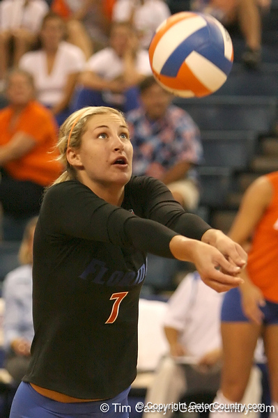 photo by Tim Casey<br /> <br /> Florida junior libero Elyse Cusack makes a dig during the Gators' sweep of the South Carolina Gamecock on Wednesday, October 15, 2008 at the Stephen C. O'Connell Center in Gainesville, Fla.