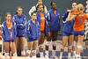photo by Tim Casey<br /> <br /> Players watch from the bench during the Gators' sweep of the South Carolina Gamecock on Wednesday, October 15, 2008 at the Stephen C. O'Connell Center in Gainesville, Fla.