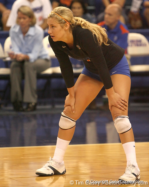 photo by Tim Casey<br /> <br /> Florida junior libero Elyse Cusack awaits a serve during the Gators' sweep of the South Carolina Gamecock on Wednesday, October 15, 2008 at the Stephen C. O'Connell Center in Gainesville, Fla.