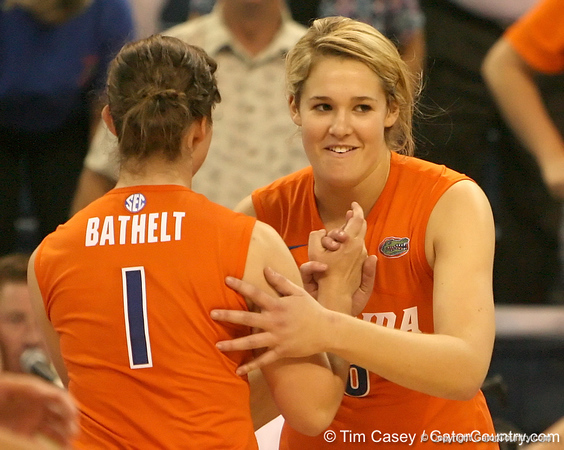 photo by Tim Casey<br /> <br /> Florida redshirt freshman outside hitter Kristy Jaeckel subs in for  freshman setter Cindy Bathelt during the Gators' sweep of the South Carolina Gamecock on Wednesday, October 15, 2008 at the Stephen C. O'Connell Center in Gainesville, Fla.