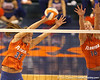photo by Tim Casey<br /> <br /> Florida senior middle blocker Kelsey Bowers goes up for a block during the Gators' sweep of the South Carolina Gamecock on Wednesday, October 15, 2008 at the Stephen C. O'Connell Center in Gainesville, Fla.