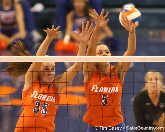 photo by Tim Casey<br /> <br /> Florida senior middle blocker Kelsey Bowers and sophomore outside hitter Callie Rivers go up for a block during the Gators' sweep of the South Carolina Gamecock on Wednesday, October 15, 2008 at the Stephen C. O'Connell Center in Gainesville, Fla.