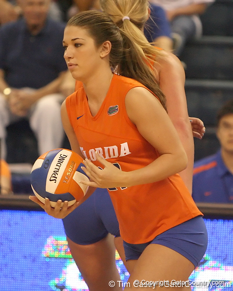 photo by Tim Casey<br /> <br /> Florida sophomore defensive specialist Erin Fleming subs in during the Gators' sweep of the South Carolina Gamecock on Wednesday, October 15, 2008 at the Stephen C. O'Connell Center in Gainesville, Fla.