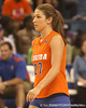 photo by Tim Casey<br /> <br /> Florida sophomore defensive specialist Erin Fleming awaits a serve during the Gators' sweep of the South Carolina Gamecock on Wednesday, October 15, 2008 at the Stephen C. O'Connell Center in Gainesville, Fla.