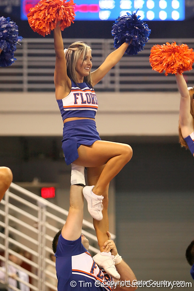 photo by Tim Casey<br /> <br /> Florida cheerleaders perform during the Gators' sweep of the South Carolina Gamecock on Wednesday, October 15, 2008 at the Stephen C. O'Connell Center in Gainesville, Fla.