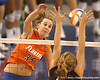 photo by Tim Casey<br /> <br /> Florida senior middle blocker Kelsey Bowers makes an attack during the Gators' sweep of the South Carolina Gamecock on Wednesday, October 15, 2008 at the Stephen C. O'Connell Center in Gainesville, Fla.