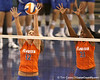 photo by Tim Casey<br /> <br /> Florida freshman setter/right-side hitter Kelly Murphy and freshman middle blocker Cassandra Anderson go up for a block during the Gators' sweep of the South Carolina Gamecock on Wednesday, October 15, 2008 at the Stephen C. O'Connell Center in Gainesville, Fla.