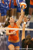 photo by Tim Casey<br /> <br /> Florida freshman setter/right-side hitter Kelly Murphy makes an attack during the Gators' sweep of the South Carolina Gamecock on Wednesday, October 15, 2008 at the Stephen C. O'Connell Center in Gainesville, Fla.
