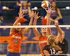 photo by Tim Casey<br /> <br /> Florida senior middle blocker Kelsey Bowers and freshman outside hitter Colleen Ward go up for a block during the Gators' sweep of the South Carolina Gamecock on Wednesday, October 15, 2008 at the Stephen C. O'Connell Center in Gainesville, Fla.
