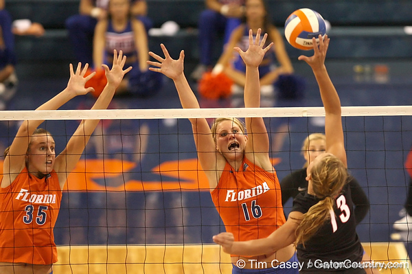 photo by Tim Casey<br /> <br /> Florida freshman outside hitter Colleen Ward goes up for a block during the Gators' sweep of the South Carolina Gamecock on Wednesday, October 15, 2008 at the Stephen C. O'Connell Center in Gainesville, Fla.