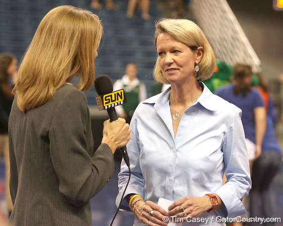 photo by Tim Casey<br /> <br /> Florida volleyball head coach Mary Wise gets interviewed for television after the Gators' sweep of the South Carolina Gamecock on Wednesday, October 15, 2008 at the Stephen C. O'Connell Center in Gainesville, Fla.