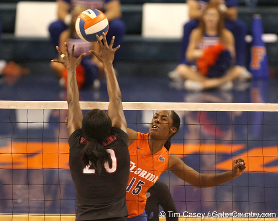 photo by Tim Casey<br /> <br /> Florida redshirt junior outside hitter Kristina Johnson goes up for a block during the Gators' sweep of the South Carolina Gamecock on Wednesday, October 15, 2008 at the Stephen C. O'Connell Center in Gainesville, Fla.