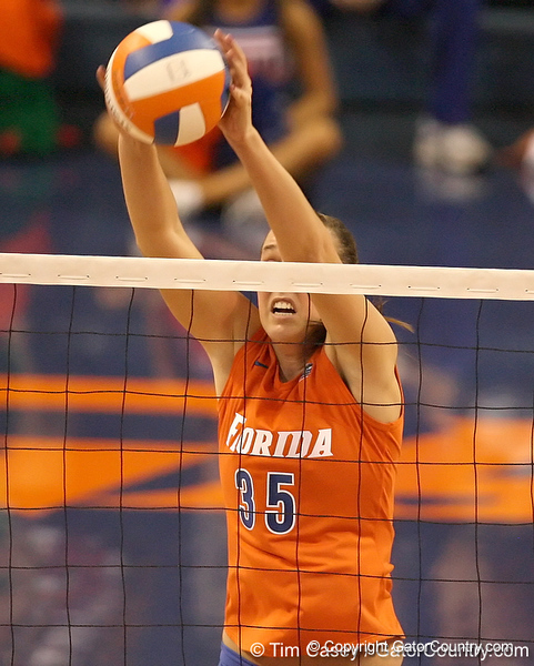 photo by Tim Casey<br /> <br /> Florida senior middle blocker Kelsey Bowers makes a kill during the Gators' sweep of the South Carolina Gamecock on Wednesday, October 15, 2008 at the Stephen C. O'Connell Center in Gainesville, Fla.