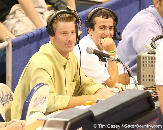 photo by Tim Casey<br /> <br /> Jeff Cardozo works as public address announcer during the Gators' sweep of the South Carolina Gamecock on Wednesday, October 15, 2008 at the Stephen C. O'Connell Center in Gainesville, Fla.