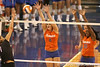 photo by Tim Casey<br /> <br /> Florida redshirt freshman outside hitter Kristy Jaeckel and freshman middle blocker Cassandra Anderson go up for a block during the Gators' sweep of the South Carolina Gamecock on Wednesday, October 15, 2008 at the Stephen C. O'Connell Center in Gainesville, Fla.