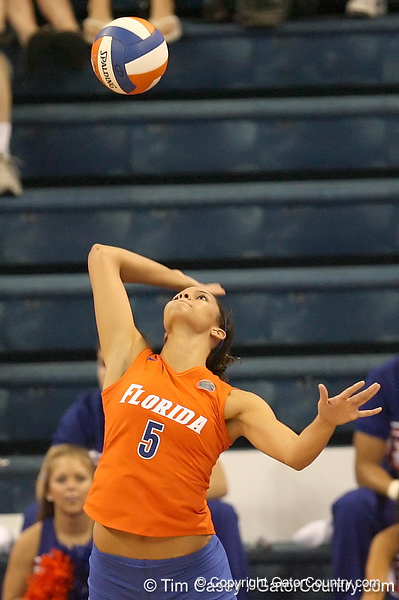 photo by Tim Casey<br /> <br /> Florida sophomore outside hitter Callie Rivers serves during the Gators' sweep of the South Carolina Gamecock on Wednesday, October 15, 2008 at the Stephen C. O'Connell Center in Gainesville, Fla.