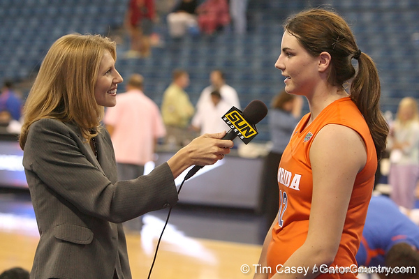 photo by Tim Casey<br /> <br /> Florida freshman setter/right-side hitter Kelly Murphy gets interviewed after the Gators' sweep of the South Carolina Gamecock on Wednesday, October 15, 2008 at the Stephen C. O'Connell Center in Gainesville, Fla.