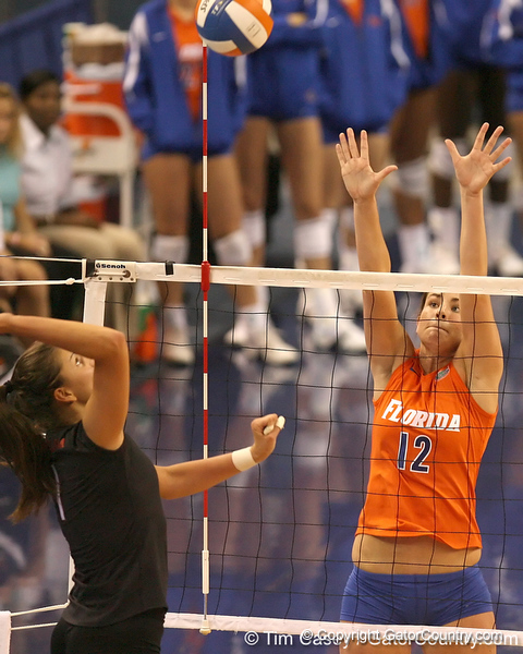 photo by Tim Casey<br /> <br /> Florida freshman setter/right-side hitter Kelly Murphy goes up for a block during the Gators' sweep of the South Carolina Gamecock on Wednesday, October 15, 2008 at the Stephen C. O'Connell Center in Gainesville, Fla.