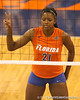 photo by Tim Casey<br /> <br /> Florida freshman middle blocker Cassandra Anderson calls out a defensive play during the Gators' sweep of the South Carolina Gamecock on Wednesday, October 15, 2008 at the Stephen C. O'Connell Center in Gainesville, Fla.