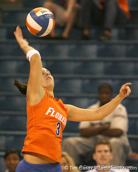 photo by Tim Casey<br /> <br /> Florida senior setter/defensive specialist Christina Diaz serves during the Gators' sweep of the South Carolina Gamecock on Wednesday, October 15, 2008 at the Stephen C. O'Connell Center in Gainesville, Fla.