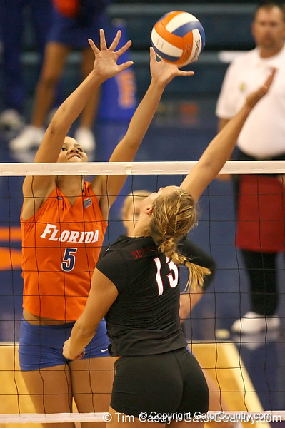 photo by Tim Casey<br /> <br /> Florida sophomore outside hitter Callie Rivers goes up for a block during the Gators' sweep of the South Carolina Gamecock on Wednesday, October 15, 2008 at the Stephen C. O'Connell Center in Gainesville, Fla.