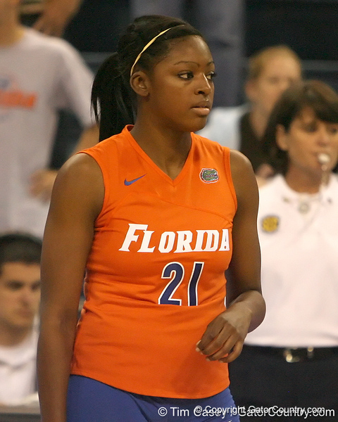 photo by Tim Casey<br /> <br /> Florida freshman middle blocker Cassandra Anderson awaits a serve during the Gators' sweep of the South Carolina Gamecock on Wednesday, October 15, 2008 at the Stephen C. O'Connell Center in Gainesville, Fla.